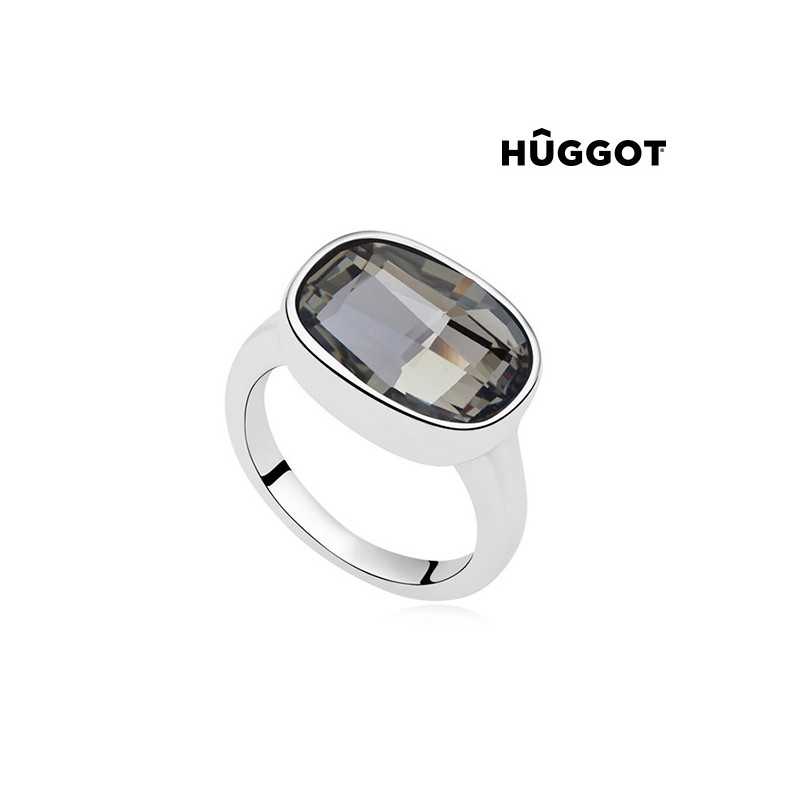 Hûggot Night Rhodium-Plated Ring Created with Swarovski®Crystals